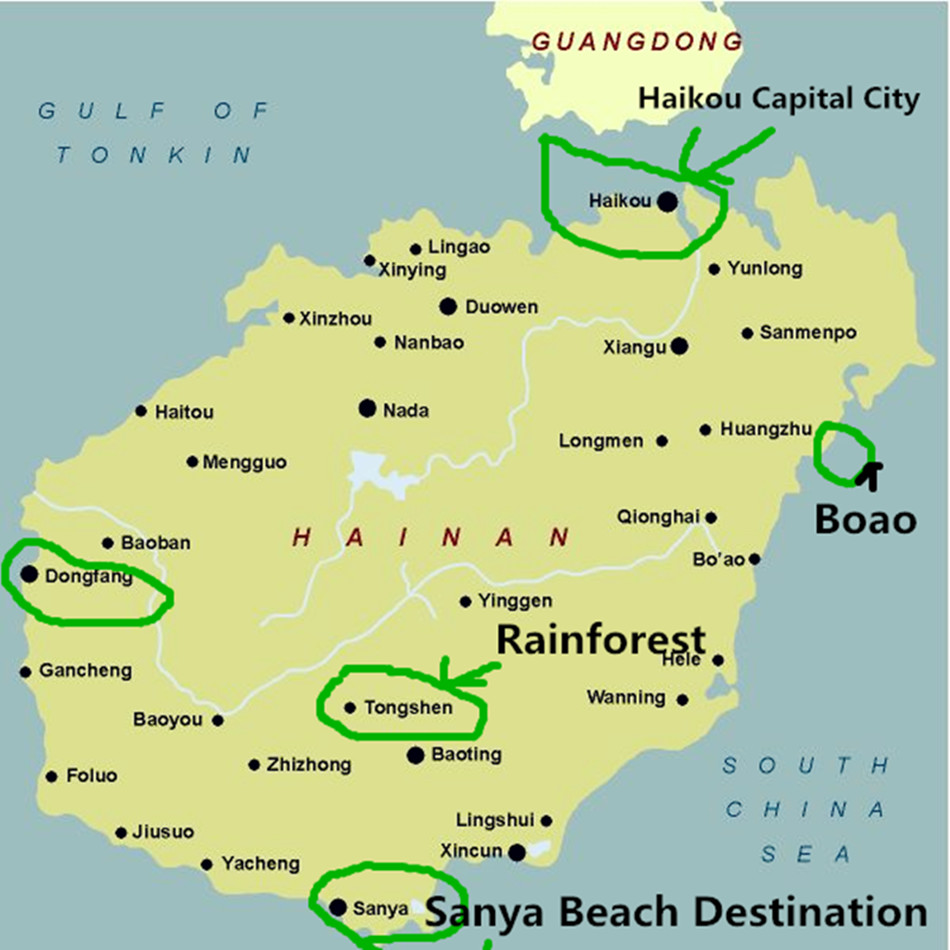 Map of Hainan